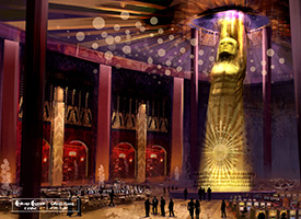 Digital concept rendering of casino floor with massive golden art deco statue in the center