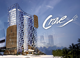 Exterior rendering of a contemporary hotel with a logo that says Crave