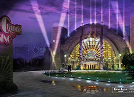 Concept rendering of the exterior of a casino called the Chicago Grande Casino
