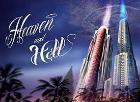 Exterior rendering of two large sky scrapers alternately colored red and blue with a logo that says Heaven and Hell