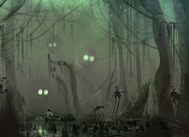 Digital rendering of a figure in a creepy swamp