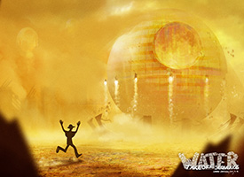 Digital rendering of a silhouetted figure running towards a large circular spaceship that is blasting off